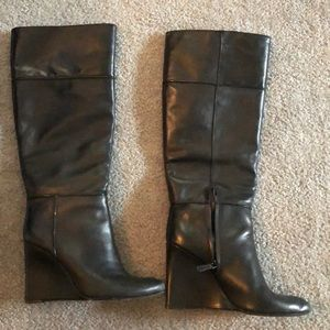 Tory Burch black wedge boots. Size 8.5